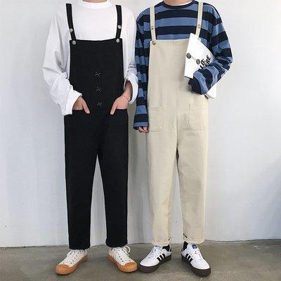 Korea Sense韓版 情侶款休閒寬鬆雙口袋素面九分吊帶褲 2色