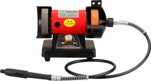 【買家購】桌上型3吋砂輪機(附電磨延伸軟管)+木盒常用綜合雕刻工具組~特價中