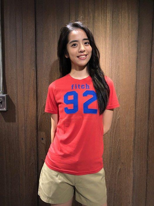 美國百分百【全新真品】 Abercrombie & Fitch T恤 AF 短袖 麋鹿 kids 女男 紅色 I875