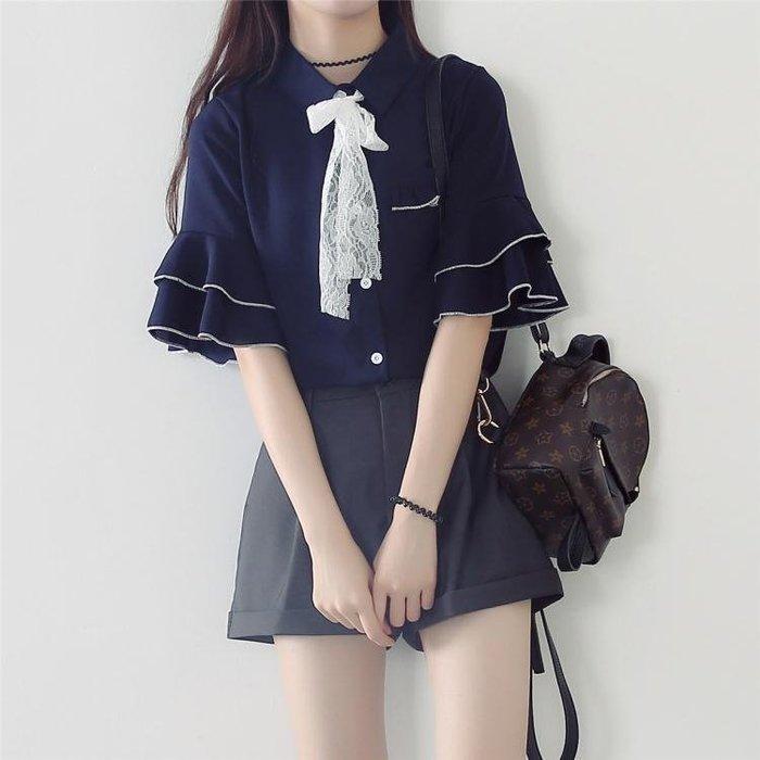 夏季新款喇叭袖寬鬆學生上衣短袖蝴蝶結繫帶雪紡襯衫女