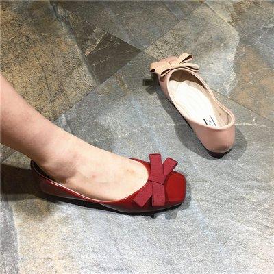 Sarah  實拍單鞋女ins一腳蹬百搭網紅婚鞋蝴蝶結包頭包趾平跟涼鞋18