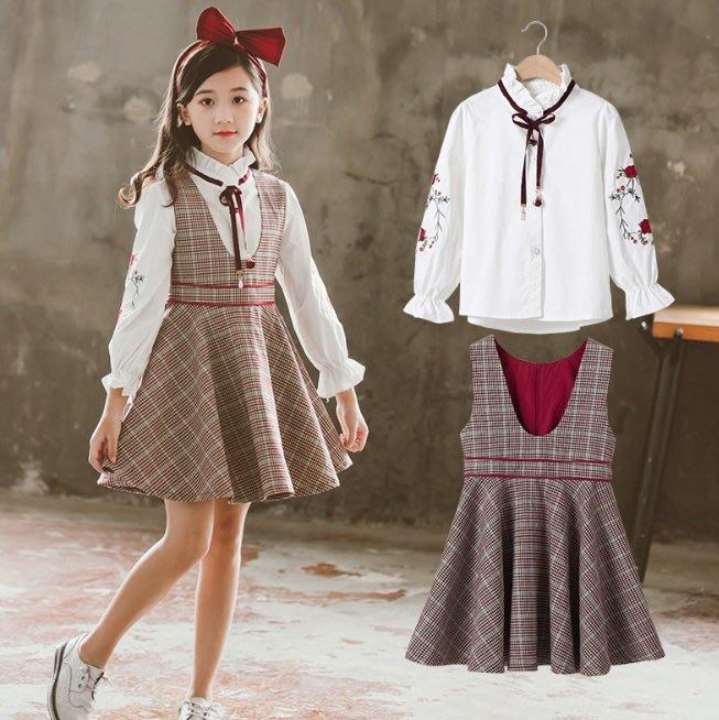 小圖藤童裝~~~中大童~~女童套装秋装2019新款格子秋套裙套裝(A466)
