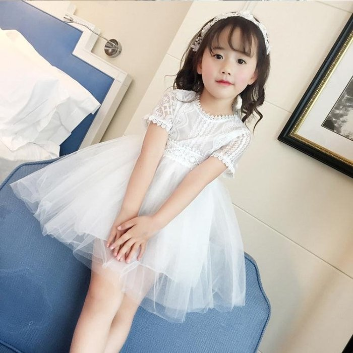 女童公主裙短袖紗裙夏季寶寶蕾絲連衣裙夏裝2二3三5七7歲兒童裙子洋裝 【甜心】