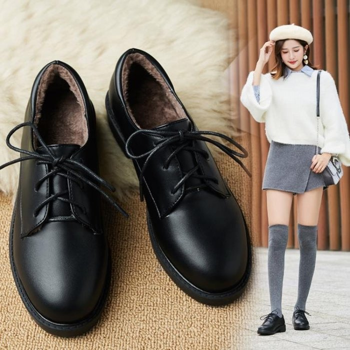 小皮鞋女冬加絨2018新款秋季學生平底系帶黑色學院原宿英倫風女鞋
