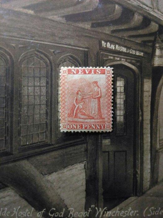 (極品珍藏!) 英屬尼維斯(Nevis) 1861年(首套郵票第一枚) QV Medicinal Spring 1d.