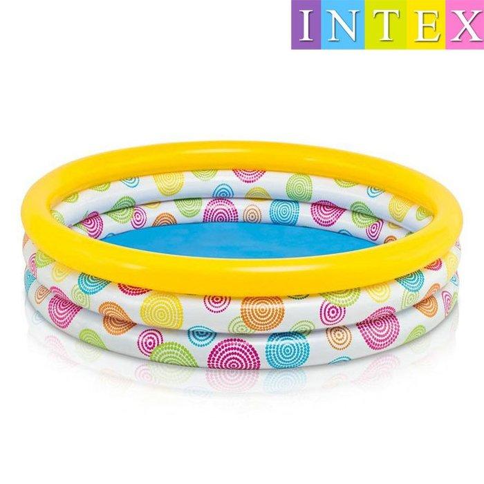 INTEX 58439 新款隨意幾何 普普風游泳池 147cm x 33cm(附修補片)