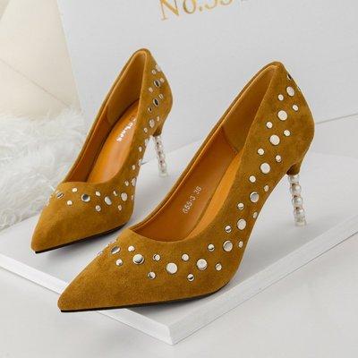 歐美性感尖頭淺口高跟鞋夜店顯瘦細跟女單鞋珍珠百搭女鞋