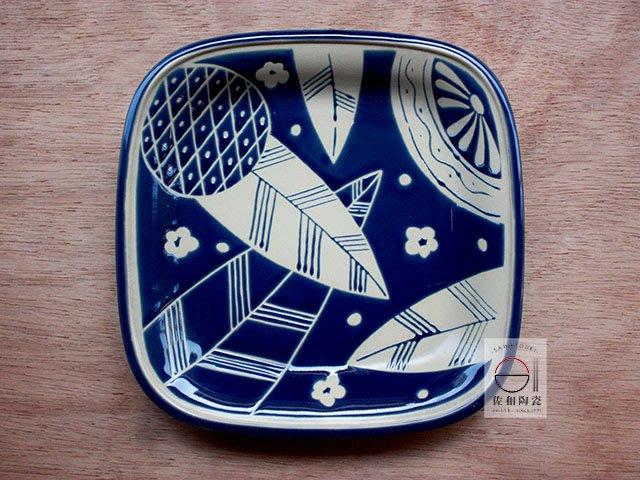 +佐和陶瓷餐具批發+【XL070914-16藍葉紋9吋角皿-日本製】日本製 方盤 角皿 和食器 營業餐具 餐盤 備料盤