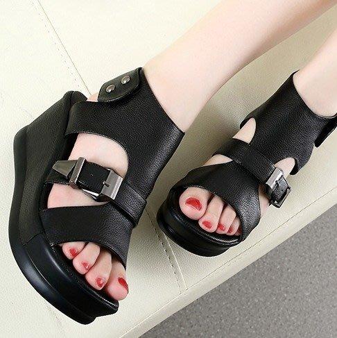 ~Linda~涼鞋女夏新款松糕坡跟厚底平底羅馬高跟韓版鞋子百搭夏季女鞋