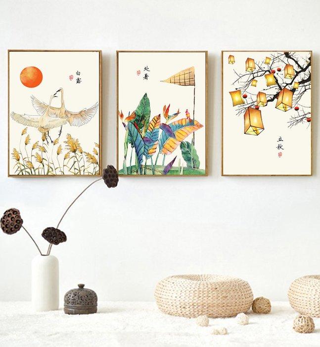 三幅一組油畫布 新中式現代民俗古風 畫芯/畫布/30X40☺暖暖屋☺傢居藝術館