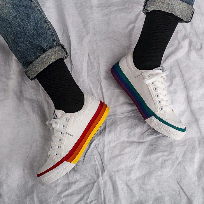 SeyeS  萬年百搭潮流彩虹滾邊不同腳配色帆布鞋