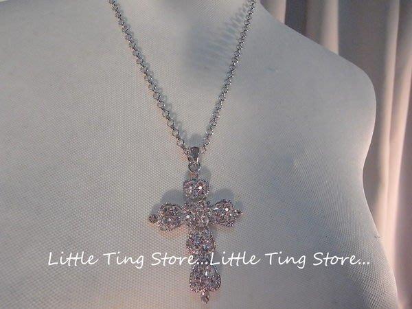 Little Ting Store衝浪型男潘瑋柏.周杰倫閃亮水晶鑽愛心圈十字架水鑽墜飾長項鍊/頸項鍊