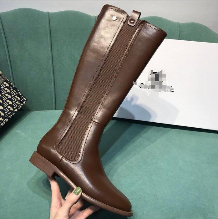 cha小香家 山茶花後拉鏈騎士靴 真皮平底休閒長靴 牛皮高筒靴子