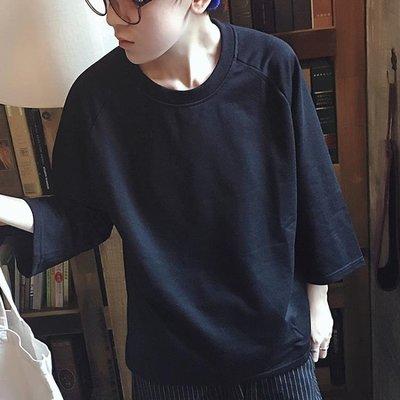 中大碼T恤 夏季寬鬆男T恤潮青年七分蝙蝠袖短袖體恤純色簡約半中袖打底衫薄