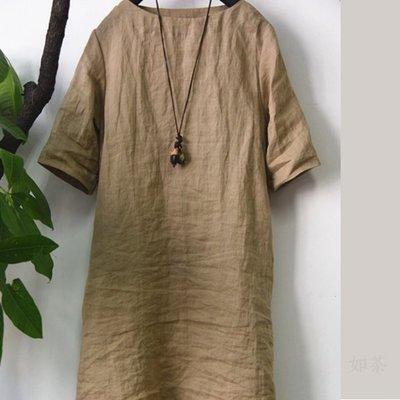【如茶】簡約透氣清涼薄款苧麻長衫連身裙-超值推薦