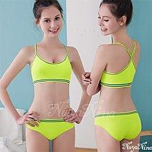 女運動服批發@玩色!撞色彩條無縫低腰內褲S-XL(螢光綠)