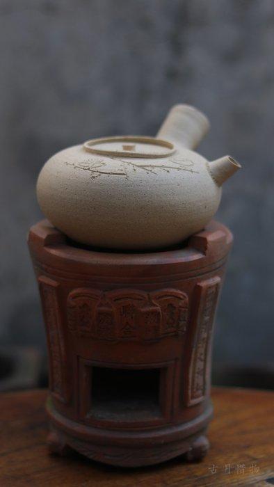 手工梅花白泥側把煮茶壺 粗陶土砂銚橫把泡茶器炭爐燒水壺可以堂普洱茶苑