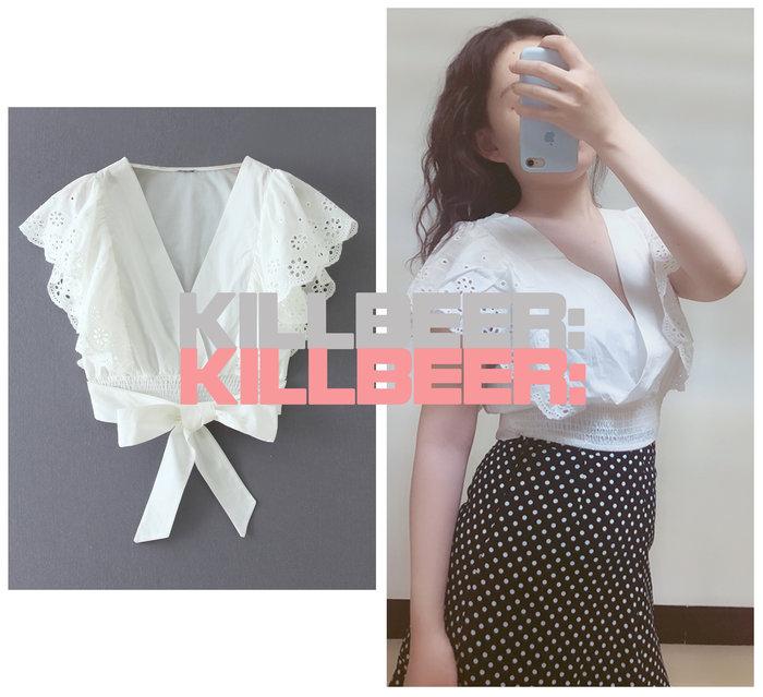KillBeer:仙女是怎樣煉成的之 歐美復古氣質裸白波希米亞蕾絲刺繡勾花V領短版綁帶飛袖襯衫上衣A080210