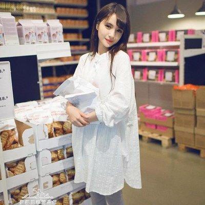 孕婦裝上衣潮媽寬鬆白色襯衣中長款長袖孕婦襯衫裙