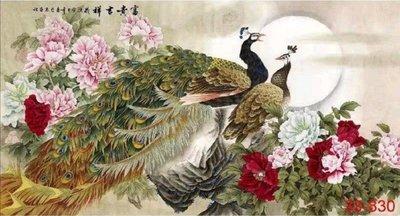 『花鳥畫』四尺畫芯 國畫字畫 風水畫 山水畫 牡丹裝飾畫孔雀圖(富貴吉祥)MX16