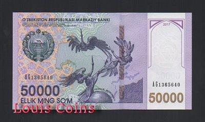 【Louis Coins】B506-UZBEKISTAN--2017烏茲別克紙幣50.000 Som