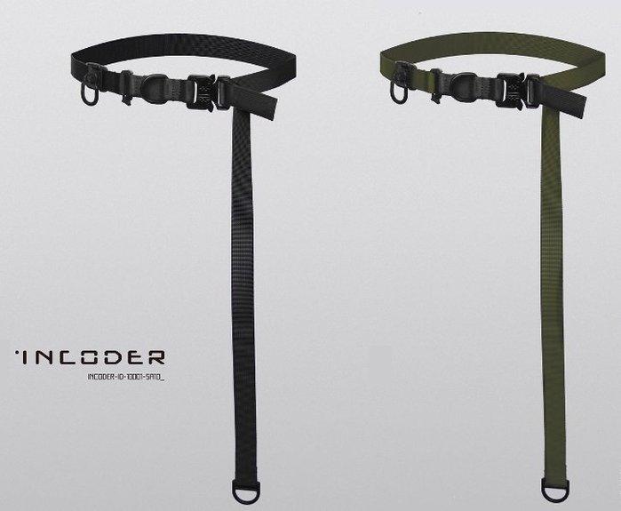 { POISON } INCODER TWO STRIP BELT 特製金屬扣頭 機能長版帆布皮帶 CYBER PUNK