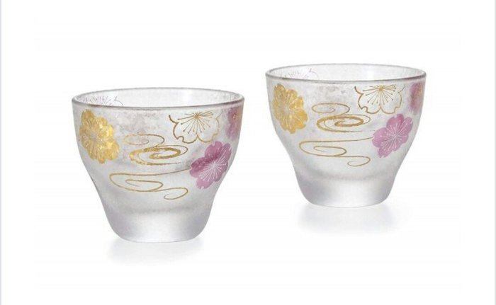 天使熊雜貨小舖~日本帶回ADERIA霧面燙金(櫻花、流水)玻璃杯 二入酒杯   全新現貨