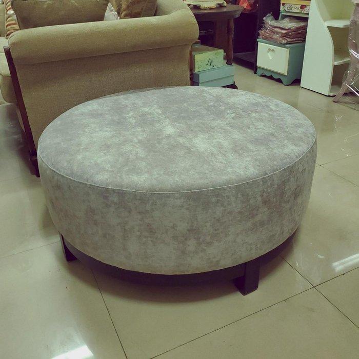 美生活館 新古典風格 灰色系 絨布 大圓 沙發凳 也可當茶几 店面 也可使用 大廳 等候沙發 僅有一只