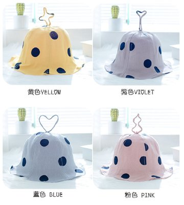 ~(1-3歲)童帽潮 圓點純色寶寶盆帽可折疊百搭漁夫帽春秋兒童戶外遮陽帽(藍色 粉色 紫色 灰色)