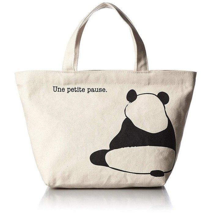 【露西小舖】日本Panda帆布手提袋(米色底)帆布貓熊手提包帆布購物袋環保購物袋(日本平行輸入)