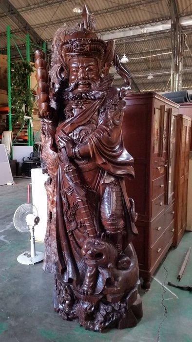 國際二手貨----早期  紅豆杉木雕 高260公分 武財神 趙光明 精緻威武 直徑約80公分 鎮宅 招財 大型木雕
