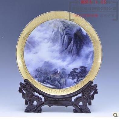 INPHIC-景德鎮擺飾《山水》瓷盤 家居裝飾 古典時尚家居工藝品