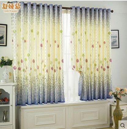 ☜男神閣☞田園美式窗簾布成品飄窗短簾半簾 遮光布客廳臥室落地窗簾