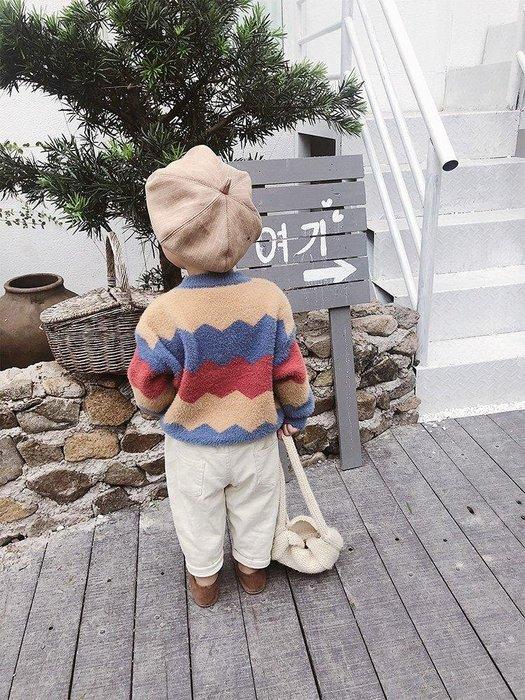 日和生活館 寶寶衣服 男寶寶服裝 兒童裝 萌萌童裝 小帥哥男童毛衣冬款新款兒童仿兔毛針織衫寶寶加厚拼色線衣潮 S988