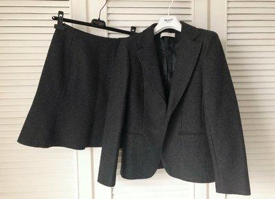 101專櫃購買原價十八萬 MIU MIU 灰色高端初剪羊毛西裝A-line裙套裝