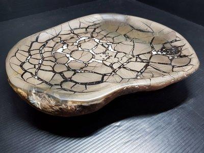 石在有趣~新石器時代/龜甲石細格網花茶盤