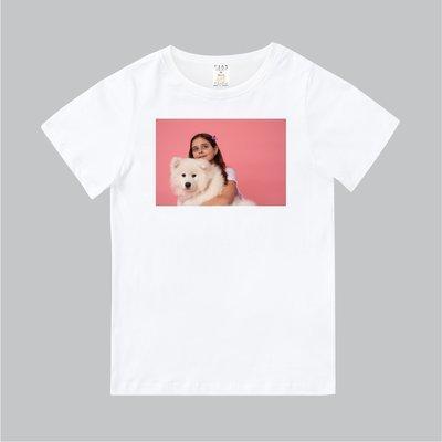 T365 MIT 親子 童裝 情侶 T恤 T-shirt 短T 狗 DOG 薩摩耶 Samoyed 女孩 girl