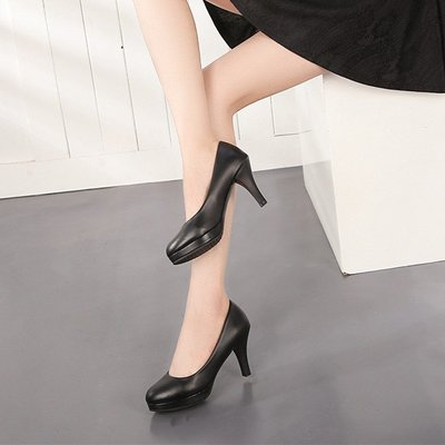 工作鞋女職業OL高跟皮鞋黑色正裝禮儀空姐圓頭防滑單鞋全館免運