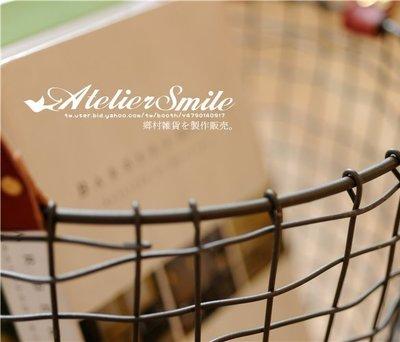 [ Atelier Smile ] 鄉村雜貨 美式工業風 皮手把鐵制收納籃 圓形高款 鐵籃 # 小  (現+預)