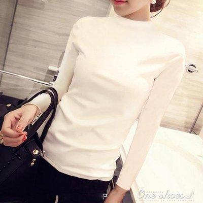 ZIHOPE 黑色半高領打底衫女長袖薄秋天修身上衣純棉緊身中領T恤ZI812