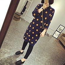 Jomi日系 韓國單 復古寬鬆半高領波點針織毛衣連身裙*2色預購【JO28-JU3130】