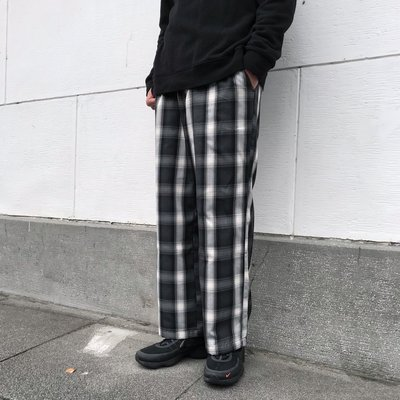 【 WEARCOME 】RAGEBLUE CASUAL PANTS 寬版 格紋長褲/黑灰