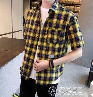 格子襯衫男士短袖韓版潮流短袖帥氣休閒夏薄款短袖襯衣上衣 可開發票