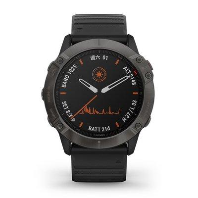 【岱宇國際Dyaco】GARMIN fēnix 6X 進階複合式運動GPS腕錶-石墨灰/黑【D040007】