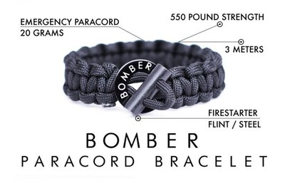 【AO主打】Bomber Barrel打火石求生手環 680元/條 - 野外求生 露營 GQ雜誌
