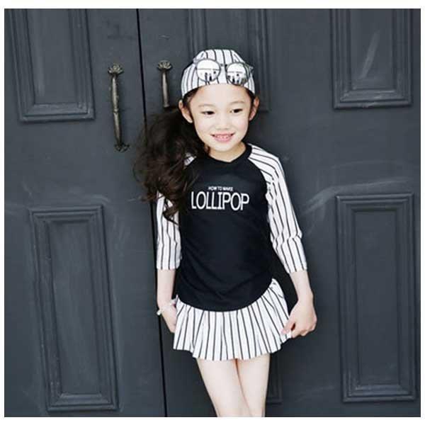 5Cgo【鴿樓】會員有優惠  524417497623 韓國公主兒童泳衣長袖 冬季保暖溫泉女寶寶遊泳衣分體裙式