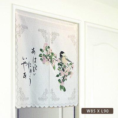 【芸佳】日式雅緻紋花短門簾-鳥語  W85XL90 市售669