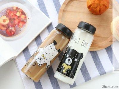 【V5365】韓國 日系 簡約文創 玻璃杯 隨身瓶 星巴克 PongDang Water 小熊 果汁杯 咖啡杯 水瓶