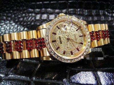 【靚錶閣】獨家限量紅寶中排滿天星蠔士錶‧藍寶石水晶玻璃   紅蟳王