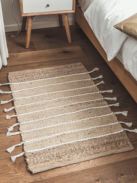 解憂zakka~ 印度進口手工編織地毯 黃麻制作家用入戶門墊創意客廳臥室床邊毯#地墊#地毯